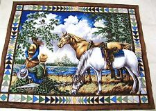 """PANEL HORSE CHILDREN EAGLE ALL COTTON FABRIC 43"""" X 34"""" WALL HANGING"""