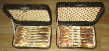 """2 x 6 alte Kuchengabeln """"Sileta40"""" oder """"Sibefa40"""" mit Besteckkasten / Silber"""