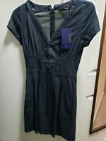 NWT ZARA CORSET LACE SHORT SLEEVE MIDI  VNECK DENIM DRESS SIZE SMALL