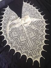 WOOL/ANGORA BLEND HANDKNITTED COBWEB LACE SHAWL/SKARF WHITE/CREAM