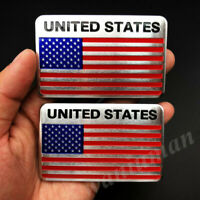 2pcs USA American United States Flag Car Motorcyle Decals Sticker Badge Emblem