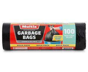 Multix 56L Extra Wide Garbage Bags Trash Bin Bags 100pk FREE SHIPPING