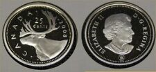2008 Canada Frosted Silver 25 Cent Caribou Quarter Proof
