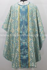 NEW Marian Blue Metallic clergy gothic vestment and stole set  ,Gothic casulla