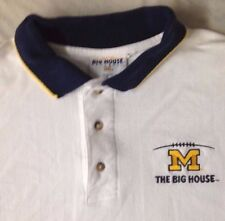 """MICHIGAN WOLVERINES """"THE BIG HOUSE"""" POLO SHIRT MEN'S XL extra large WHITE S/S"""