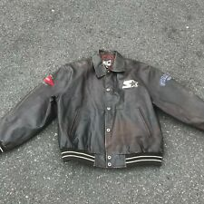 STARTER LEATHER JACKET BROWN BASEBALL STYLE WELL USED SIZE L B1 USED