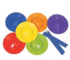 6x Kids Spinning Plate Set with Plastic Stick Magic Circus Trick Juggling Toys