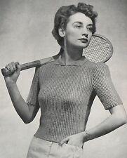 "Vintage Knitting Pattern Ladies 1940s Rib Sweater/Jumper. 34""-36"" Bust."
