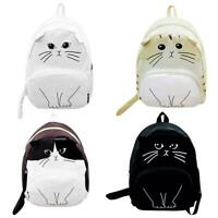 Women Canvas Lovely Cute Cartoon Cat Backpack Casual Students School Bag JF#E