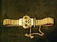 "Antique Victorian Gold Filled Bracelet Garnets Small Wrist 6.25"" Dainty & Pretty"