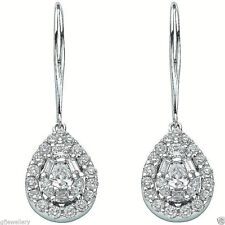 SOLID 18CT HALLMARKED WHITE GOLD 1.75 CARAT G SI1 DIAMOND DROP EARRINGS