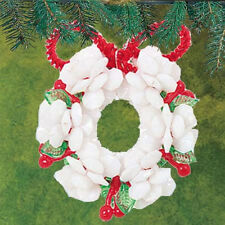 Cousin Corp. White CHRISTMAS LEGENDS WREATH Beaded Ornaments Kit SET 6 NEW