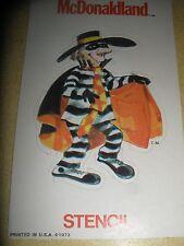 Vintage McDonaldland Hamburgler Stencil 1973 Printed in U.S.A
