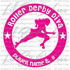 ROUND ROLLER DERBY DIVA CUSTOM DECAL WITH PLAYER NAME & # PERSONALIZED SKATER