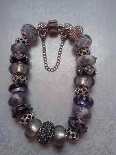 Anesiidora 18KGP Silver European bead bracelet Violet Purple Mauve Flower Foil