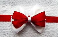 "RED AND WHITE SATIN RIBBON 3"" HAIR BOW ELASTIC HEADBAND BABY"