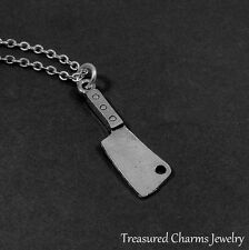 Silver Cleaver Charm Necklace - Butcher Knife Hatchet Horror Pendant Jewelry NEW