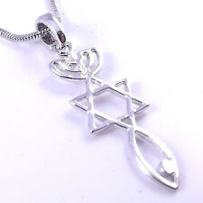Mesiánicos Sello Collar hebraic raíces Colgante Plata injertadas Estrella David menorá