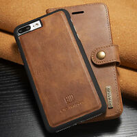 For iPhone 8 7 Plus Genuine Leather Removable Wallet Card Slot Case Flip Cover