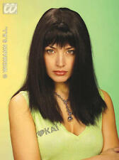 Ladies Long Thick Black Wig With Fringe Goth Pulp Fiction Fancy Dress