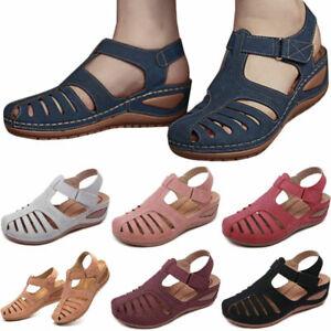 Women Orthopedic Sandals Comfy Closed Toe Mules Summer Slippers Flat Shoes Size