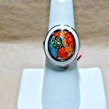 MULTI COLOR MURANO MILLEFLORI  style  STAINLESS STEEL RING - SIZE 6