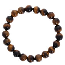Mens Tigers Eye Bracelet, Natural Polished Stone Beads, Elastic Cording, Healing