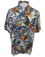 Hollis River Men Hawaiian ALOHA shirt pit to pit 23.5 L floral camp luau rayon