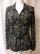 Style & Co. Black Green Long Sleeve Button Up Women's Large NWT