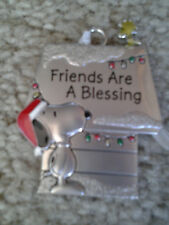 """SANTA SNOOPY & WOODSTOCK DOGHOUSE PEWTER CHRISTMAS ORNAMENT """"FRIENDS R BLESSING"""""""