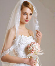613v 1t Short Bridal Ivory Tulle Fringed Lace Edge Wedding Veil with Comb