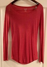 MOSSIMO Red Fine Rib Wide Neck Long Sleeve T-Shirt Top M