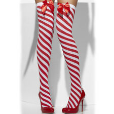 Red and White Hold Ups Ladies Christmas Stockings Candy Stripe
