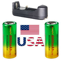 26650 Battery Li-ion 3.7V Rechargeable for Flashlight Torch & Charger US STOCK~*
