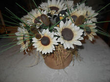 Country Chic Floral / Crow /Burlap Bag Pottery Flower Pot