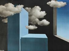 Surrealist 1970 Rene Magritte The Tempest Vintage Vibrant Blue Sky Litho #S55