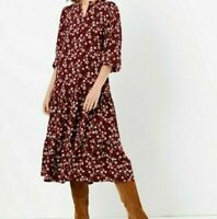 New Marks and Spencer Ditsy Floral Print Relaxed Midi Dress Size Small RRP £49.5