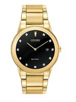 $395 CITIZEN Axiom Black Dial Gold-tone Diamond Men's Watch Item No. AU1062-56G