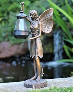 Garden Ornament Solar Fairy Angel Resin Bronze Figurine Angel Statue Lantern
