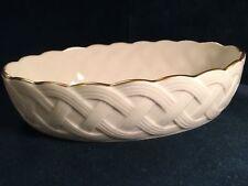 New in Box Lenox 120th Anniversary Ivory Basket Weave Lattice Oval Server Bowl