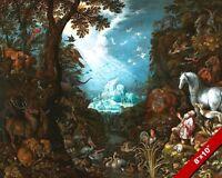 ANIMALS GATHERED NEAR NOAH'S ARK PAINTING BIBLE FLOOD ART REAL CANVAS PRINT