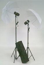 2x Flash de studio 160WS + 2x Parapluie lumière + 2x Trépied dans une Mallette