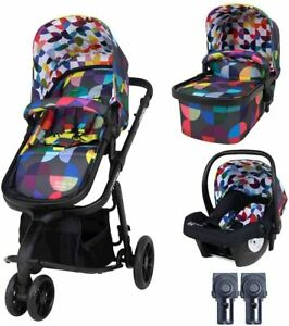 New Cosatto giggle 3 in 1 pram & pushchair Kaleidoscope with car seat, raincover