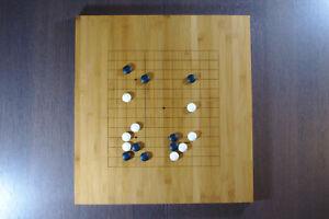 Go Set - 19x19 Reversible Board, Biconvex Yunzi Stones, Bamboo Bowls