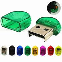 100pcs/lot LED Mini USB 2.0 Micro SD SDHC TF T-Flash Memory Card Reader Adapter