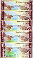 LOT Chatham Islands, 5 x 1 Koha, 2013 (2014), Polymer, UNC