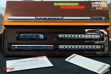 "Z Scale Märklin 81421 - ""King Ludwig II"" Train Set  218 Locomotive & 3 Blue Cars"