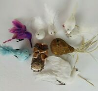 Lot 9 Bird Ornaments Clip On Hanging Doves & More-Feathers Beads Tree Wire Feet