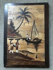 Vintage Asian Style Art Deco Wooden Boat Scene Women Workers Wall Hanging Pic
