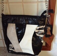 NEW WITH TAGS CARLOS SANTANA  BLACK FAUX SNAKESKIN ACCENTS CROSS BODY  PURSE